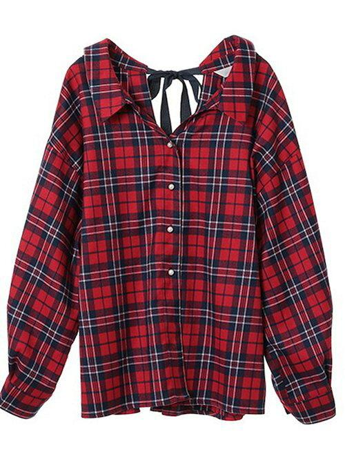 赤バックリボンチェックシャツコーディネート画像
