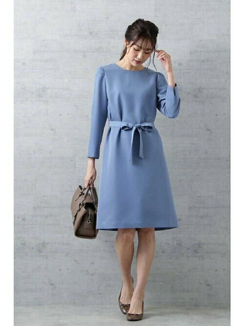 ブルー ウエストマークドレスのコーディネート画像