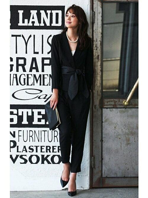 黒 ウエストリボンセットアップパンツのコーディネート画像