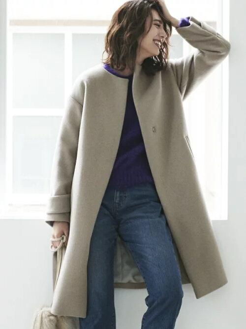 アンゴラビーバーノーカラー ロング丈コートのコーディネートの画像