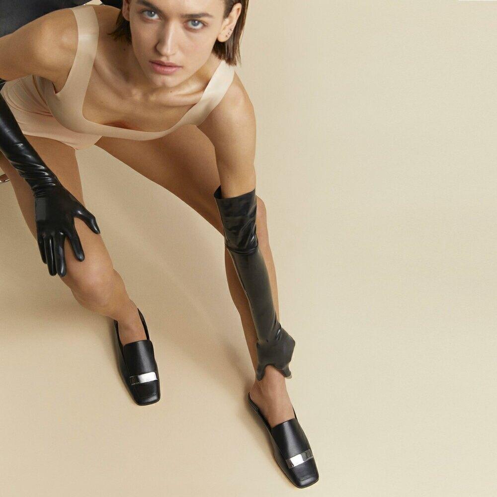 Women's sr1 Slipper [ブラックナッパ x シルバープレート]
